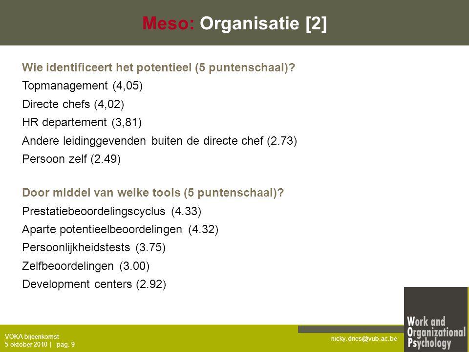 Meso: Organisatie [2] Wie identificeert het potentieel (5 puntenschaal) Topmanagement (4,05) Directe chefs (4,02)